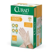 Medline® Curad® Powder-Free Vinyl Exam Gloves, Clear, One Size, 24/Pack