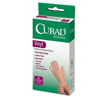 Medline® Curad® Latex-Free Exam Vinyl Gloves, One Size, 8/Pack
