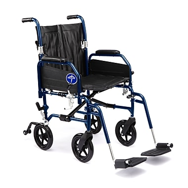 Medline® Excel Hybrid Transport Wheelchair W/Removable Desk Length Arm & Swing Away Leg, Blue/Black