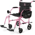 Medline® Freedom 2 Transport Chair With Perm Desk Length Arm and Swing Away Leg, Pink/Black