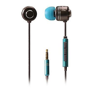 BOOM – Écouteurs intra-auriculaires à commande avec un microphone à 3 boutons, bleu