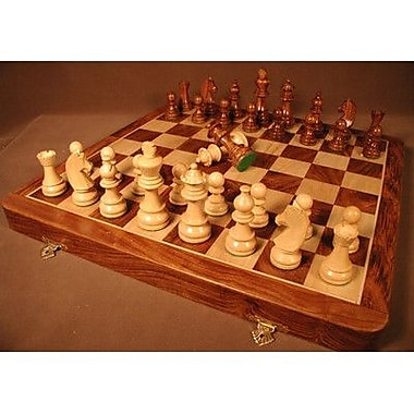 Chopra Sheesham Folding Chess Set in Chest