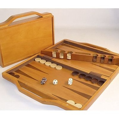 Square Root Games Wood Attache Backgammon Board Game