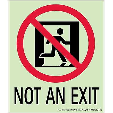 NYC Not An Exit Sign, 6.5X5.5, Flex, 7550 Glow Brite, MEA Approved