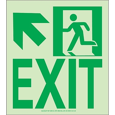 NYC Wall Mount Exit Sign, Up Left, 9