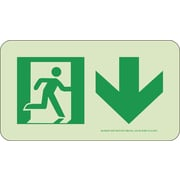 Nyc Directional Sign,Down, 4.5X8, Rigid, 7550 Glow Brite, Mea Approved