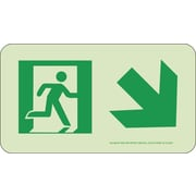 NYC Directional Sign, Down Right, 4.5X8, Rigid, 7550 Glow Brite, MEA Approved