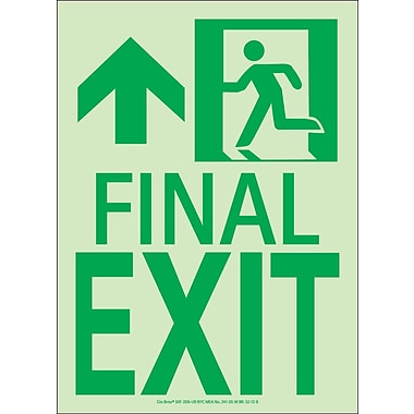 NYC Final Exit Sign, Forward/Left Side, 11X8, Flex, 7550 Glow Brite, MEA Approved