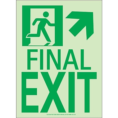 NYC Final Exit Sign, Up Arrow, 11X8, Flex, 7550 Glow Brite, MEA Approved