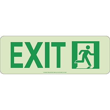 NYC Door Mount Exit Sign, Right, 4.5X13, Rigid, 7550 Glow Brite, MEA Approved