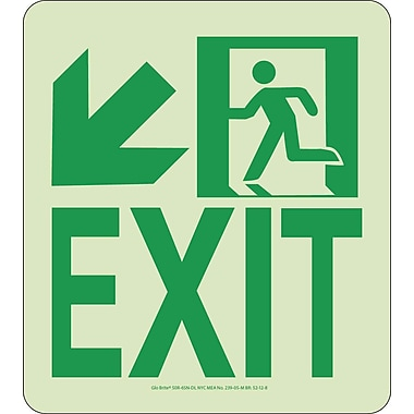 NYC Wall Mont Exit Sign, Down Left, 9X8, Rigid, 7550 Glow Brite, MEA Approved