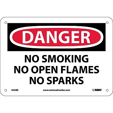 Danger, No Smoking No Open Flames No Sparks, 7X10, Rigid Plastic