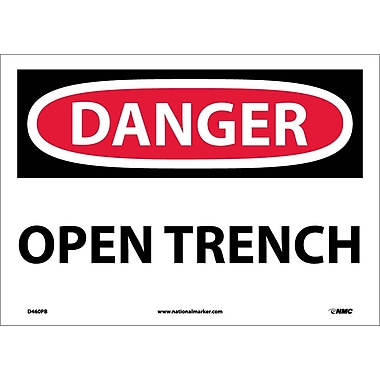 Danger, Open Trench, 10X14, Adhesive Vinyl