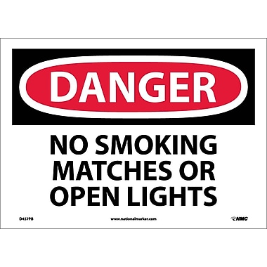 Danger, No Smoking Matches Or Open Lights, 10X14, Adhesive Vinyl