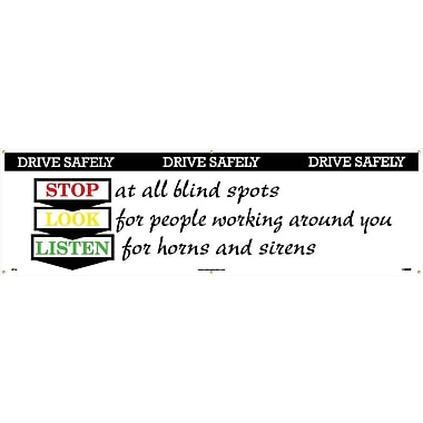 Banner, Drive Safely Stop Look Listen, 3' x 10'