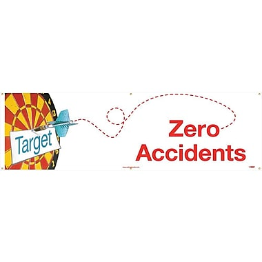 Banner, Target Zero Accidents, 3Ft X 10Ft.