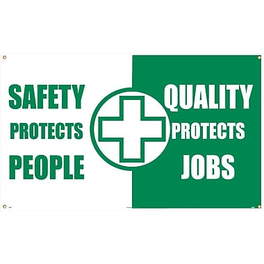 Banner, Safety Protects People Quality Protects Jobs, 3Ft X 5Ft