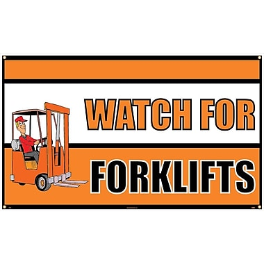Banner, Watch for Forklifts, 3' x 5'