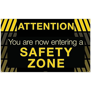 Banner, Attention You Are Now Entering A Safety Zone, 3' x 5'