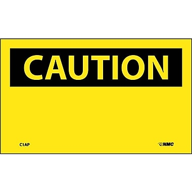 Caution, (Header Only), 3X5, Adhesive Vinyl, 5/Pk