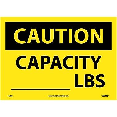 Caution, Capacity ______ Lbs, 10X14, Adhesive Vinyl