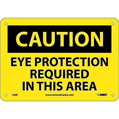 Caution, Eye Protection Required In This Area, 7X10, Rigid Plastic