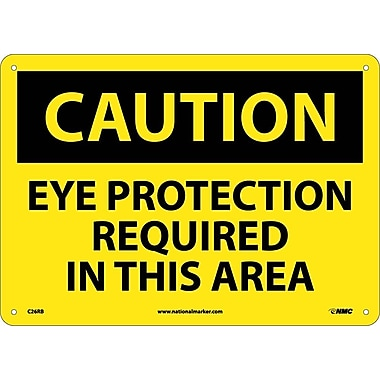 Caution, Eye Protection Required In This Area, 10X14, Rigid Plastic