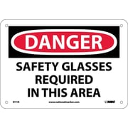 Danger, Safety Glasses Required In This Area, 7X10, Rigid Plastic