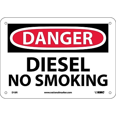 Danger, Diesel No Smoking, 7X10, Rigid Plastic