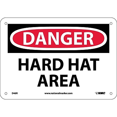 Danger, Hard Hat Area, 7X10, Rigid Plastic