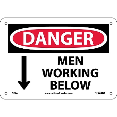 Danger, Men Working Below, 7X10, .040 Aluminum