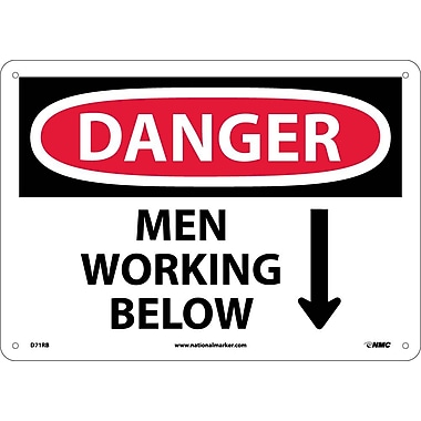 Danger, Men Working Below, 10X14, Rigid Plastic
