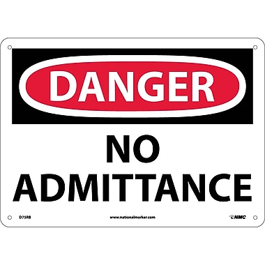 Danger, No Admittance, 10X14, Rigid Plastic