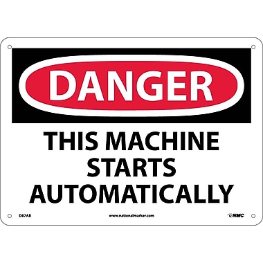 Danger, This Machine Starts Automatically, 10X14, .040 Aluminum
