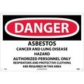 Danger, Asbestos Cancer And Lung Disease Hazard, 14X20, .040 Aluminum