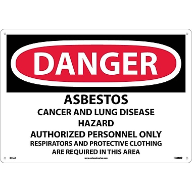 Danger, Asbestos Cancer And Lung Disease Hazard, 14X20, .040 Aluminum