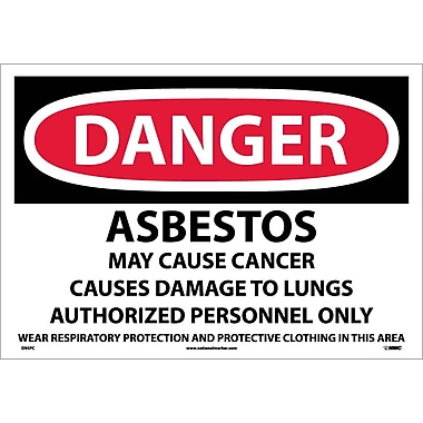 Danger, Asbestos Cancer And Lung Disease Hazard, 14X20, Adhesive Vinyl