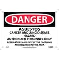 Danger, Asbestos Cancer And Lung Disease Hazard, 7X10, Rigid Plastic