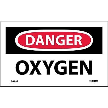 Labels - Danger, Oxygen, 3X5, Adhesive Vinyl, 5Pk