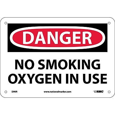 Danger, No Smoking Oxygen In Use, 7X10, Rigid Plastic