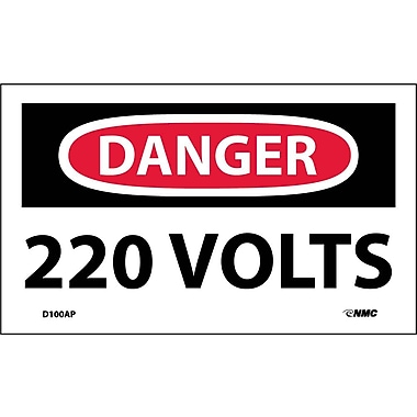 Labels - Danger, 220 Volts, 3X5, Adhesive Vinyl, 5/Pack