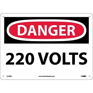 Danger, 220 Volts, 10X14, Rigid Plastic