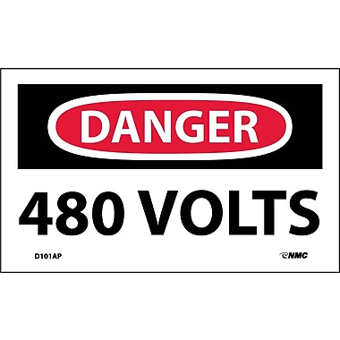 Labels - Danger, 480 Volts, 3X5, Adhesive Vinyl, 5/Pk