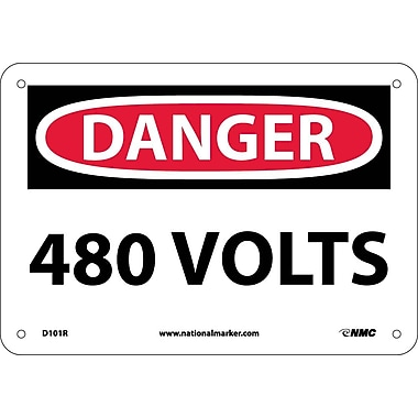 Danger, 480 Volts, 7X10, Rigid Plastic
