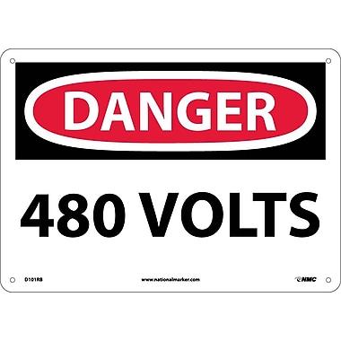 Danger, 480 Volts, 10X14, Rigid Plastic