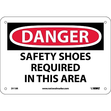 Danger, Safety Shoes Required In This Area, 7X10, Rigid Plastic