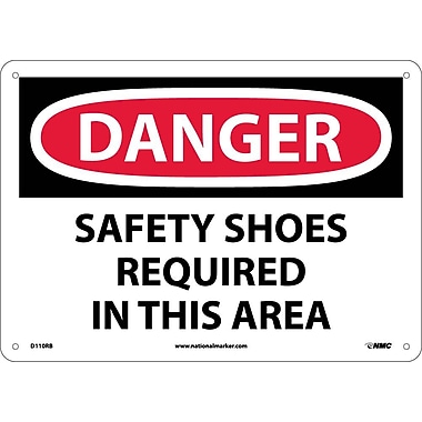 Danger, Safety Shoes Required In This Area, 10X14, Rigid Plastic