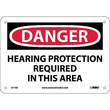 Danger, Hearing Protection Required In This Area, 7X10, .040 Aluminum