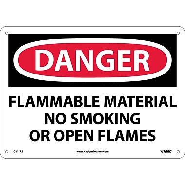 Danger, Flammable Material No Smoking Or Open Flames, 10X14, .040 Aluminum