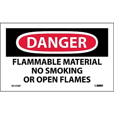 Labels - Danger, Flammable Material, No Smoking Or Open Flames, 3X5, Adhesive Vinyl, 5/Pk